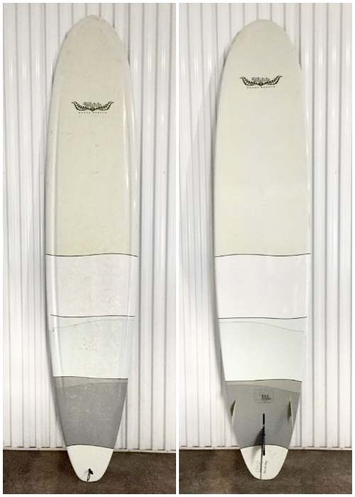 The boards have a relatively lower rocker with a complex contemporary concave bottom. The bottom contour starts with a defined teardrop shaped concave for nose riding. It then transitions into a double concave through the center of the board and then back into a single concave in the fin area and then flat off the tail for a very light, sharp, positive and precise feel. The deck channels, which look cool and make it easier to grab/hold the board, actually serve a structural purpose; deck channels strengthen the board longitudinally without significantly increasing the weight of the board. (Similar design concept as corrugated cardboard is stronger than a sheet of similar weight cardboard.)